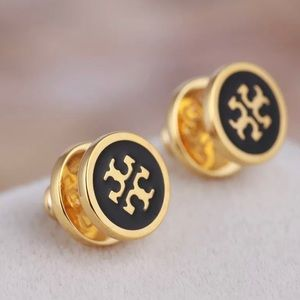Tory Burch Black Lacquered T Logo Gold Earrings